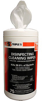 "DISINFECTANT CLEANING WIPES 7""x8"", 75 COUNT, 6CAN/CASE"