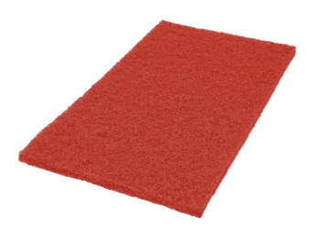 "Americo 14"" x 20"" Red Square Edge Floor Pads, 5/Case"