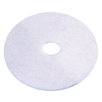 "Americo 16"" White High Lustre Polishing Floor Pad, 5/Case"