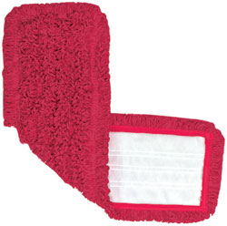 """18"""" Red Microfiber Hook&Loop Mop Pad, 12 Per Case"""